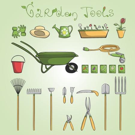 cultivating: Conjunto de herramientas de jard�n y accesorios para el cultivo de hortalizas y flores de dibujos animados