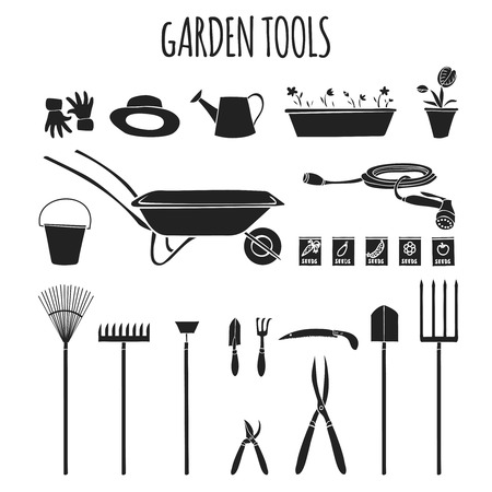 garden hose: Collection of garden related items tools and accessories for cultivating plants graphic pictogram isolated illustration