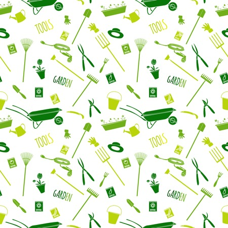 garden hose: Decorative garden tools seamless wallpaper green on white converted pattern illustration Illustration