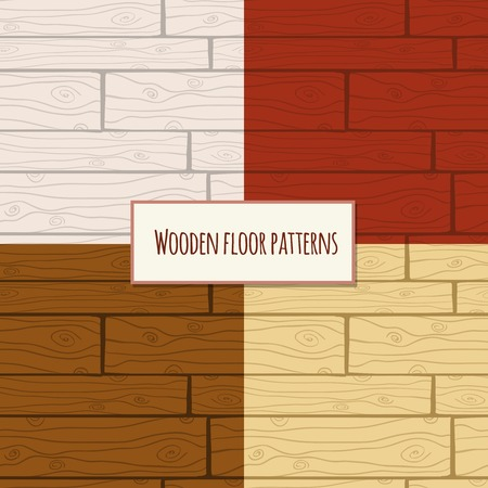 Seamless wooden parquet laminate floor planks backgrounds patterns set illustration Vector