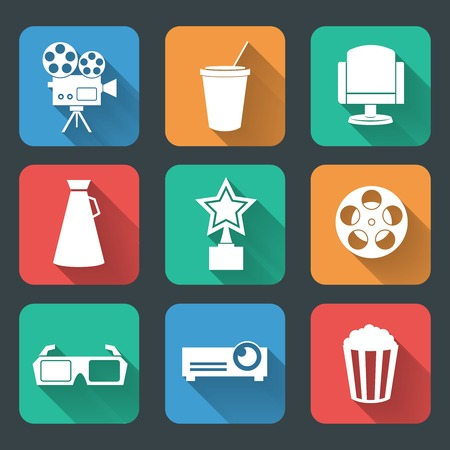 cinema strip: Cinema entertainment pictogram collection of film popcorn movie tickets theater chairs and projector lamp illustration