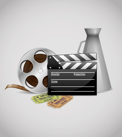 movie theater: Cinema movie theater video poster template with filmstrip clapperboard loudspeaker tickets illustration Illustration