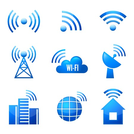 wi fi icon: Electronic device wireless internet connection  symbols glossy icons or stickers set isolated illustration Illustration