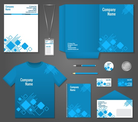 Blue and white geometric technology business stationery template for corporate identity and branding set illustration