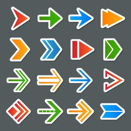 flèche double: Illustration flèches symboles icônes autocollants colorés collection Internet ensemble isolé Illustration