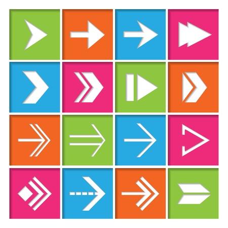 flecha derecha: Delantero derecho próximas flechas símbolos iconos conjunto de dispositivos electrónicos plana, ilustración,