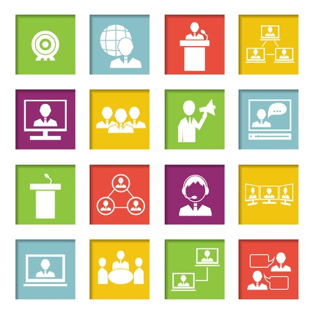 organized group: Business people online meeting strategic concepts icons set of virtual presentation conference and speech isolated illustration