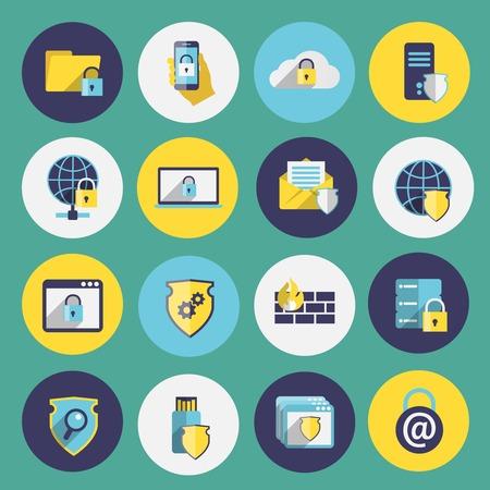 Iconos planos de seguridad Tecnología de la información establecidos de aislados protección firewall móvil ordenador ilustración Foto de archivo - 27147305