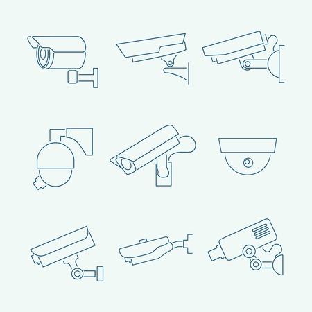 Bewaking bewakingscamera's contour pictogrammen instellen geïsoleerde illustratie
