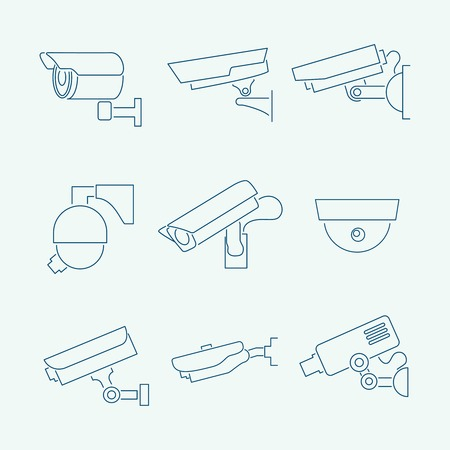 Security surveillance monitoring cameras contour icons set  isolated illustration Vector
