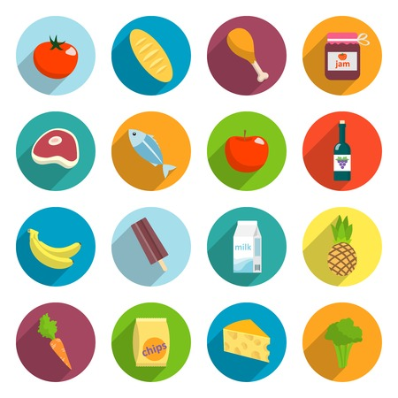 canned food: Online supermarket foods flat icons set of meat fish fruits and vegetables isolated illustration