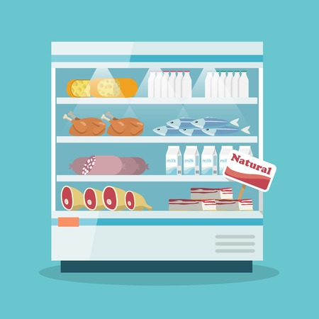 Supermarket thermocool refrigerator shelves food collection with milk fish meat cheese chicken sausage cake flat illustration Vector