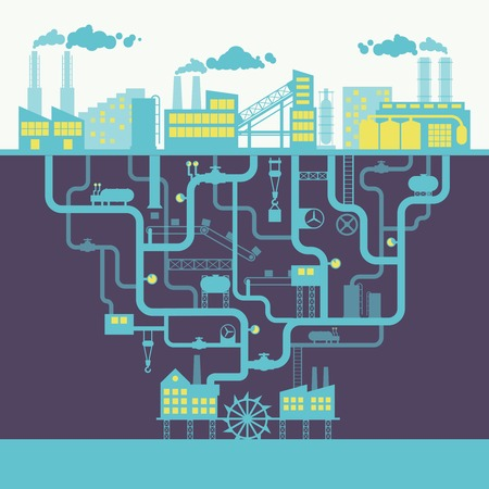 産業工場の建設や製造工場背景印刷イラスト