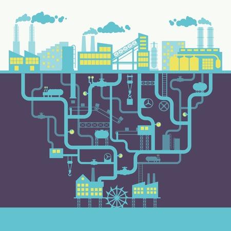 refinería de petróleo: Fábrica de edificios industriales o de la planta de fabricación de ilustración de fondo de impresión