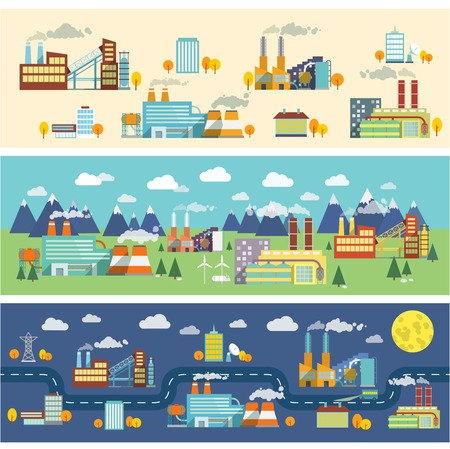 industry: Industrial buildings factories facilities public offices and power plants horizontal banners set illustration