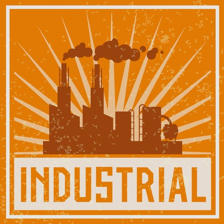 refineries: Construction industrial complex silhouette emblem print illustration Illustration