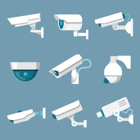 24 horas de cámaras de vigilancia de seguridad o CCTV iconos conjunto blanco sobre fondo de color, ilustración,