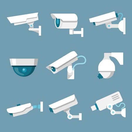 24 uur beveiliging bewakingscamera of CCTV pictogrammen set wit op gekleurde achtergrond, illustratie