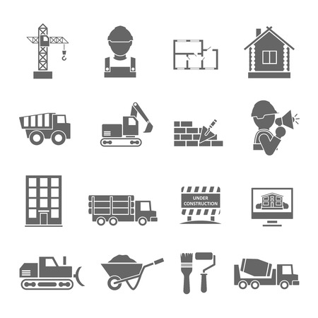 Construction vehicles facilities and building tools black icons set isolated illustration