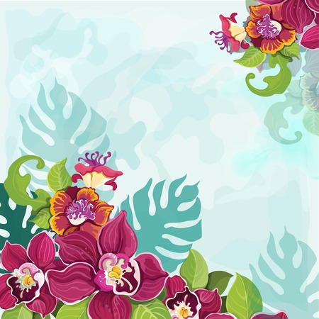 Colorful tropical pink purple and violet exotic flower garland decorative pattern background  illustration Vector