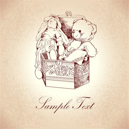 juguetes antiguos: Cuadro de la vendimia con el ornamento de la flor y retro oso de peluche y juguetes de conejo postal ilustración del modelo