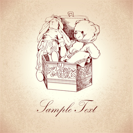 toy chest: Vintage box with flower ornament and retro teddy bear and rabbit toys post card template illustration