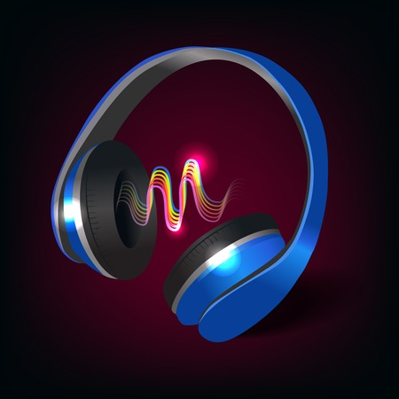 ear phones: Blue wireless music headphones with colored sound waves on dark purple background poster illustration
