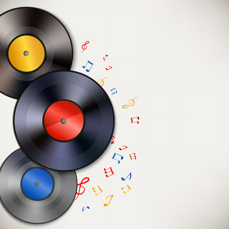 Abstract music vinyl plates background poster with colored notes illustration