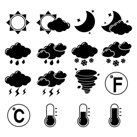 hot temperature: Weather forecast symbols black pictogram set of hot cold temperature isolated illustration