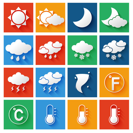 Weather forecast symbols white icons set of wind thunderstorm clouds and rain illustration Vector