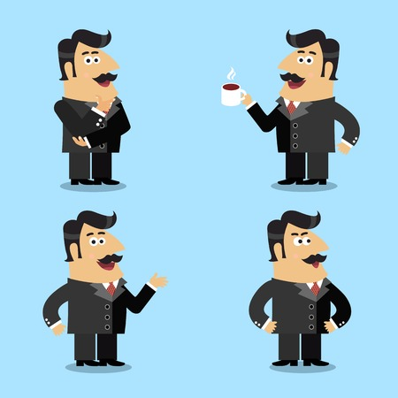 shareholder: Business life shareholder in suit emotional expressions and poses set isolated vector illustration