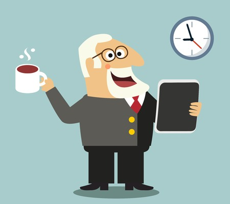 Business life happy boss with coffee mug and tablet pc reading news stock prices scene concept vector illustration Stock Vector - 27595279