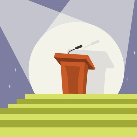 Illuminated tribune podium with microphone in spotlight and stairs template print vector illustration Vector