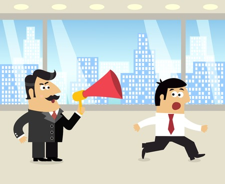 manager team: Business life boss with loudspeaker and running frustrated employee scene vector illustration