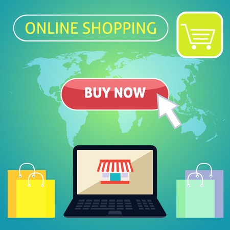 Online shopping concept design with notebook and buy now button on world map background vector illustration Vector