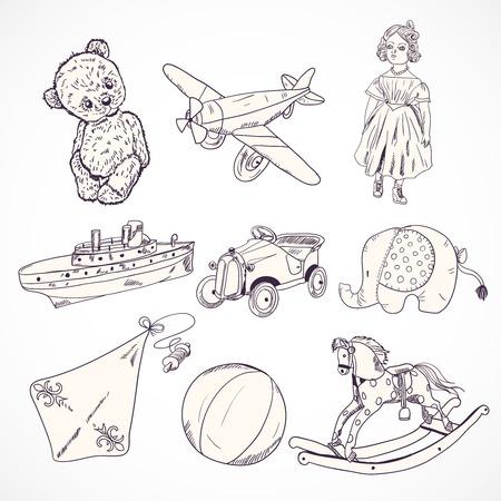 juguetes antiguos: Niños juguetes Vintage iconos croquis establecidos de oso de peluche muñeca de avión elefante coche aislado ilustración vectorial
