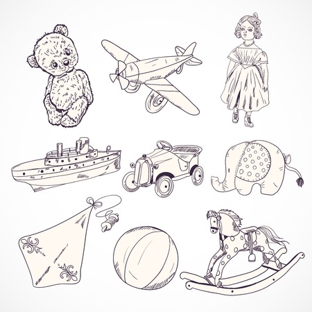 toy plane: Vintage kids toys sketch icons set of teddy bear doll airplane car elephant isolated vector illustration