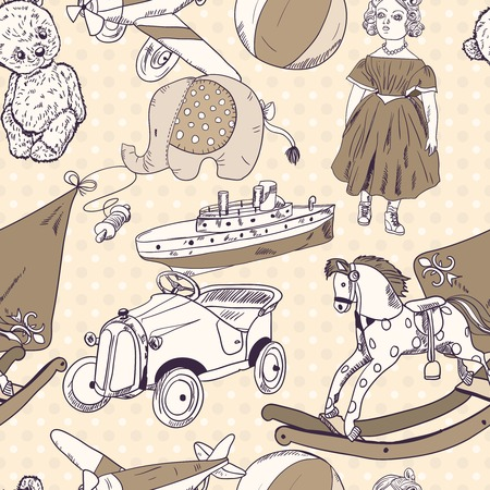 Old style kids toys sketch seamless pattern of kite ball rocking horse doll vector illustration
