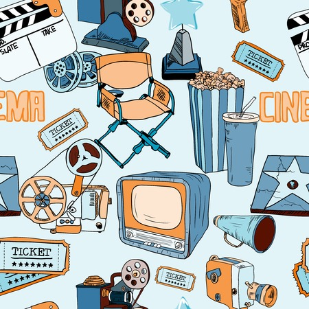 Cinema film entertainment decorative seamless pattern with director chair drink clapper design elements vector illustration Vector