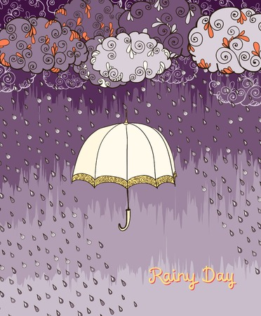 stormy clouds: Decorative doodles rainy day weather poster print element with open umbrella and stormy clouds vector illustration Illustration