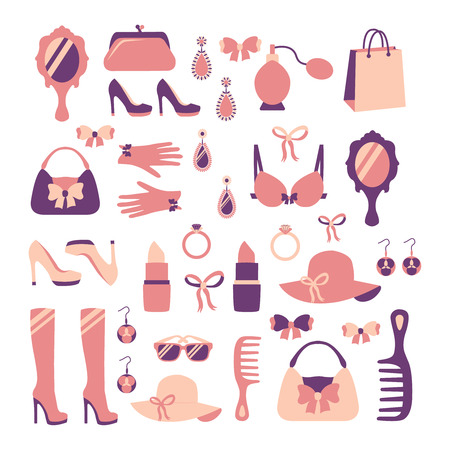 fashion shopping: Woman fashion stylish casual shopping accessory collection isolated vector illustration