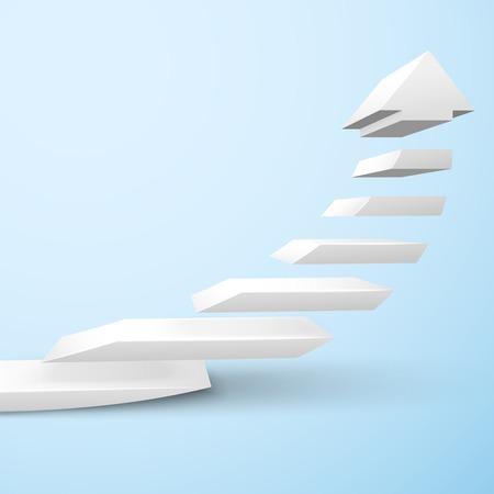upward: Ascending upward staircase arrow symbol rising moving improvement concept vector illustration