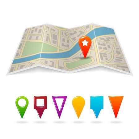 pinning: Travel city road street map with navigation pin symbols vector illustration Illustration