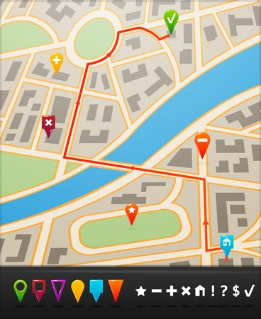 pinning: City street route map with navigation icons and  symbols vector illustration