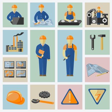 労働者ツール コンピューター データの安全性と警告ベクトル イラストのエンジニア リング、建設のアイコンを設定します。  イラスト・ベクター素材