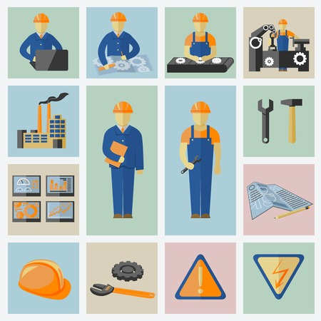 factory workers: Engineering and construction icons set of workers tools computer data safety and warning vector illustration Illustration