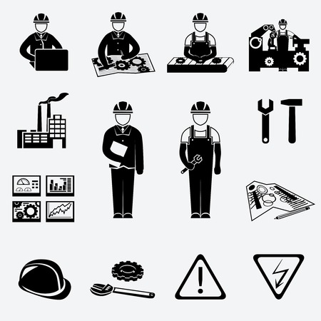 factory machine: Engineering construction and industrial icons set of project work symbols vector illustration Illustration