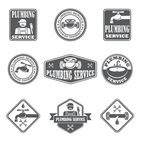 plumber tools: Plumbing service badges with water pipe plumber and tools isolated vector illustration