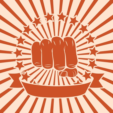 Popart power force fist poster with stars and ribbon vector illustration Vector