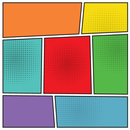 Comics popart style blank layout template background vector illustration Vettoriali